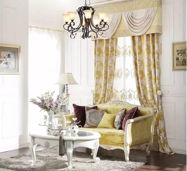 亚麻窗帘布客厅欧式风格